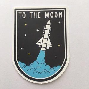 To the moon rocket spaceship sticker